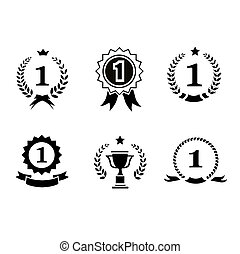 Set of black and white circular winner emblems with leader...