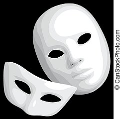white theatre mask isolated on the black background