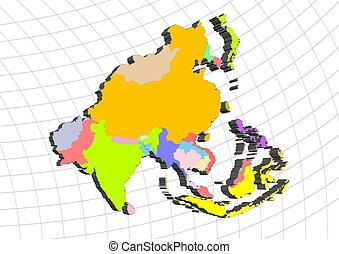 3D map of Asia
