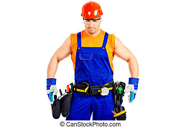 super worker - Portrait of an industrial worker posing with...