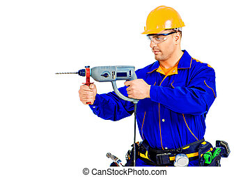 erector - Male construction worker with a drill. Job,...