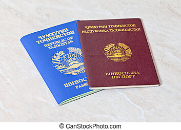 Tajikistan passports close up