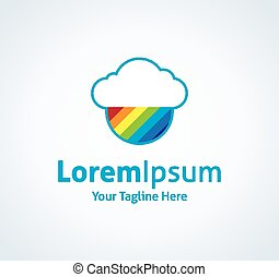 Cloud rainbow future system creativity vector logo icon