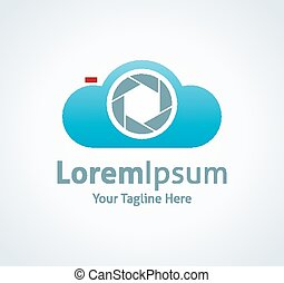 Camera focus cloud back up smart system vector logo icon