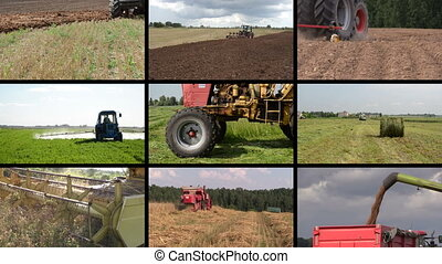 tractor field collage - Heavy agriculture equipment machines...