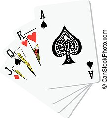 poker cards isolated on the white background