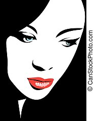 easy woman head illustration fashion picture - easy woman...