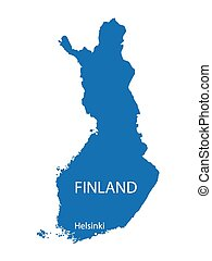 blue map of Finland