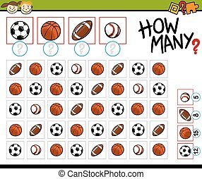 counting game cartoon illustration - Cartoon Illustration of...