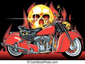 motorbike and human skull on the fire background