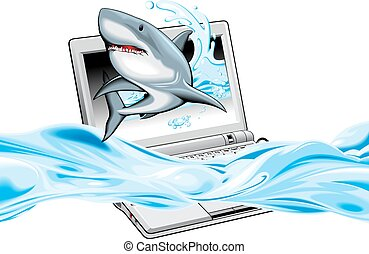 notebook with shark on the screen - notebook and shark on...