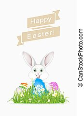 Easter Holiday Card with Egg and Rabbit