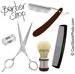 Barber shop - Set of vintage barber shop elements