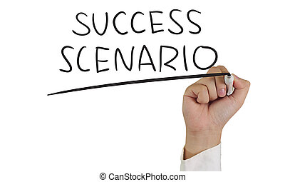 Success Scenario - Business concept image of a hand holding...