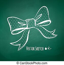 Chalkboard drawing of a bow. - Vector illustration of...