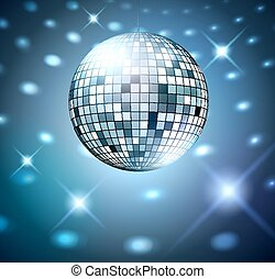 Silver disco bal. - Silver disco ball on glowing background.