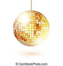 Golden disco ball. - Vector illustration of golden disco...