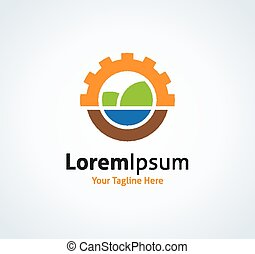 Sun and nature landscape project vector logo icon