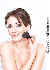 beauty make-up girl - girl doing her make-up