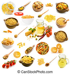 Collage of photos of different shapes of pasta