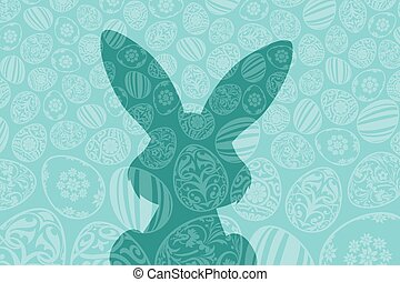 Easter Holiday Background with Eggs and Rabbit Shadow