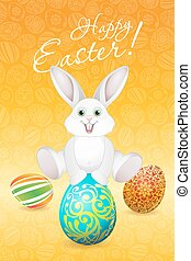 Easter Holiday Card with Eggs and Rabbit