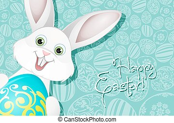 Easter Holiday Background with  Egg and Rabbit