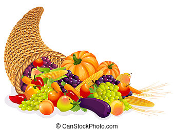 Cornucopia - Horn of Plenty with vegetables and fruits