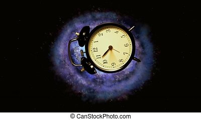 Concept of space and time Concept Alarm flies into the...