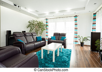 Family room - Picture of new luxury family room with brown...