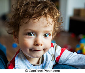 1 year old baby boy portrait - Portrait of 1 year old baby...
