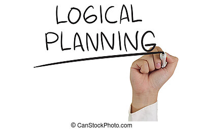 Logical Planning - Business concept image of a hand holding...