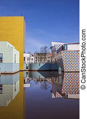 Modern building of the Groningen museum in the Netherlands