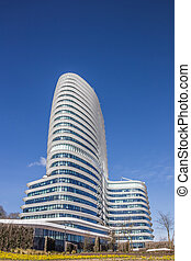 Modern office building of the dutch tax authorities in...