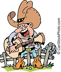 cowboy playing music isolated on the white background