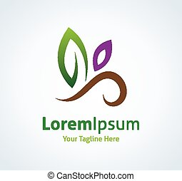 Nature green leaf gift vector logo logotype icon