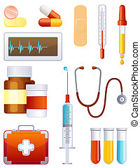 Medicine icon set - Medicale equipment icon set