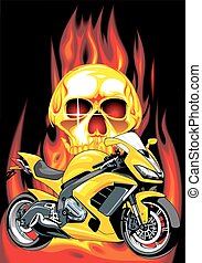 my original motorbike design on the fire background