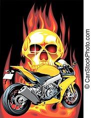 my original motorbike design on the fire background