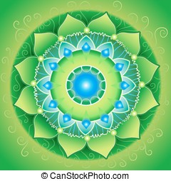 circle background, bright green mandlala of anahata chakra,...