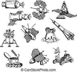 many different spacecrafts, vector