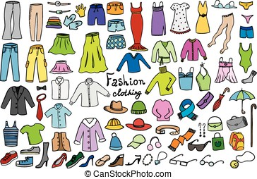 fashion and clothing color icons vector collection