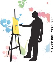 man painting on easel canvas, multicolored buds