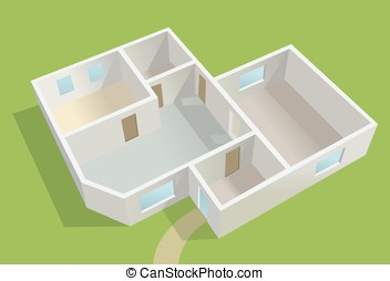empty country house planning, green lot vector