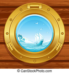 porthole - Vebrass porthole on a wooden covering