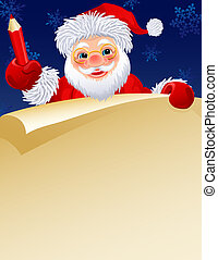 Santa claus - Santa Claus with a paper scroll and pencil