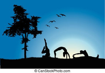 three women in gymnastics positions on hill near tree, blue...