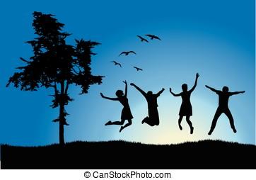 four friends jumping on field near tree, blue sky