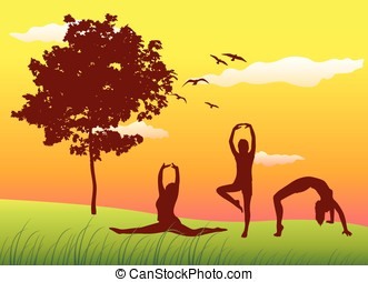 silhouette of three women making gymnastics exercises on...