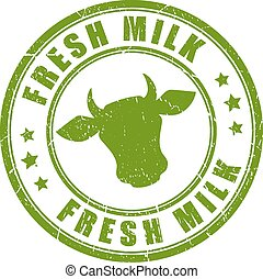 Fresh milk stamp on white background